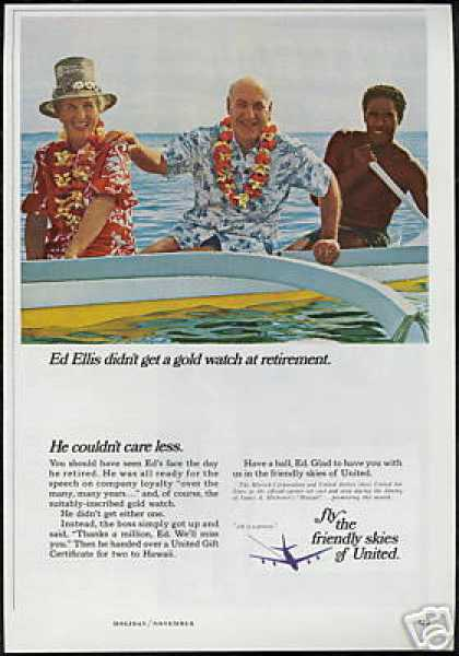 Hawaii Retirement Outrigger United Airlines (1966)