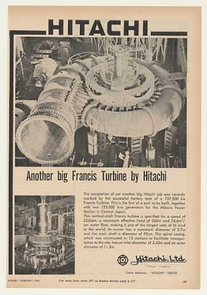 Hitachi Francis Turbine Miboro Power Japan (1960)