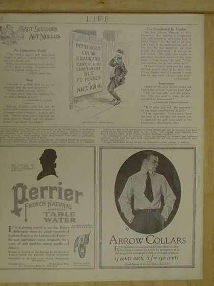 Arrow Collars and Perrier natural table water (1916)