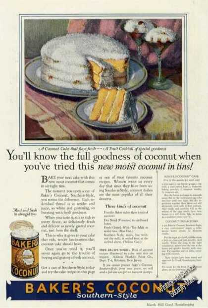 Baker's Coconut Rare Color Advertising (1925)
