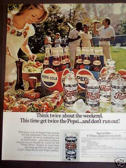 Pepsi-cola Soda & Tiffany Glasses (1971)
