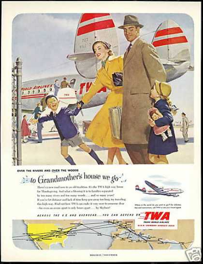 TWA Airlines Family Travel System Map (1951)
