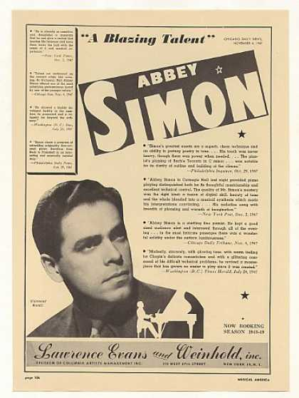 Pianist Abbey Simon Photo Booking (1948)