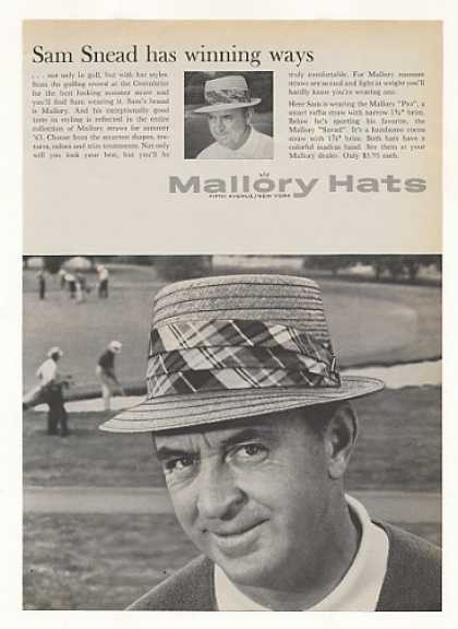 Golfer Sam Snead Mallory Straw Hats Photo (1963)