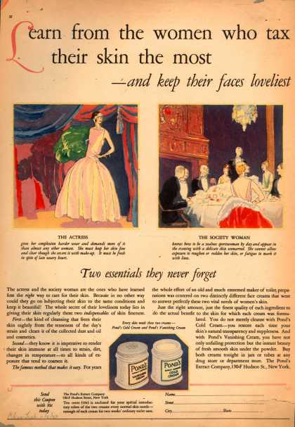 Pond's Extract Co.'s Pond's Cold Cream and Vanishing Cream – Learn from the women who tax their skin the most -and keep their faces loveliest. (1923)