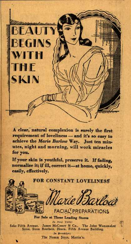 Marie Barlow – Beauty Begins With The Skin (1929)