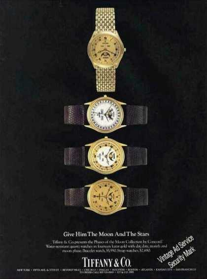 Tiffany Moon & Stars Watches Nice Color (1985)