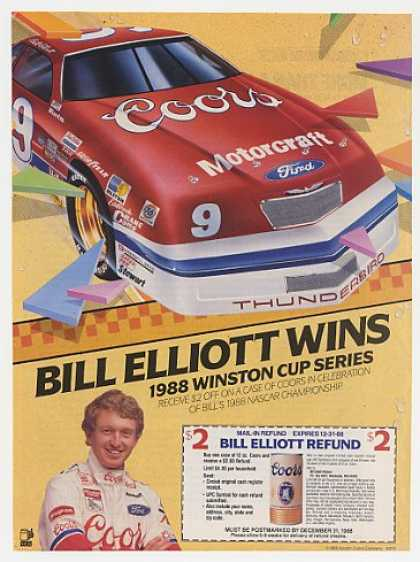 Bill Elliott #9 Thunderbird Coors Beer Photo (1988)