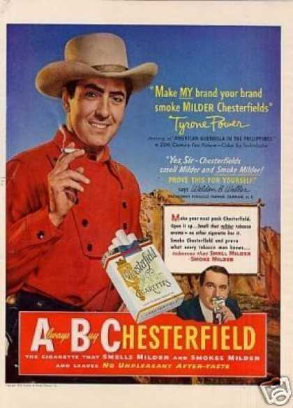 Chesterfield Cigarettes Ad Tyrone Power (1950)