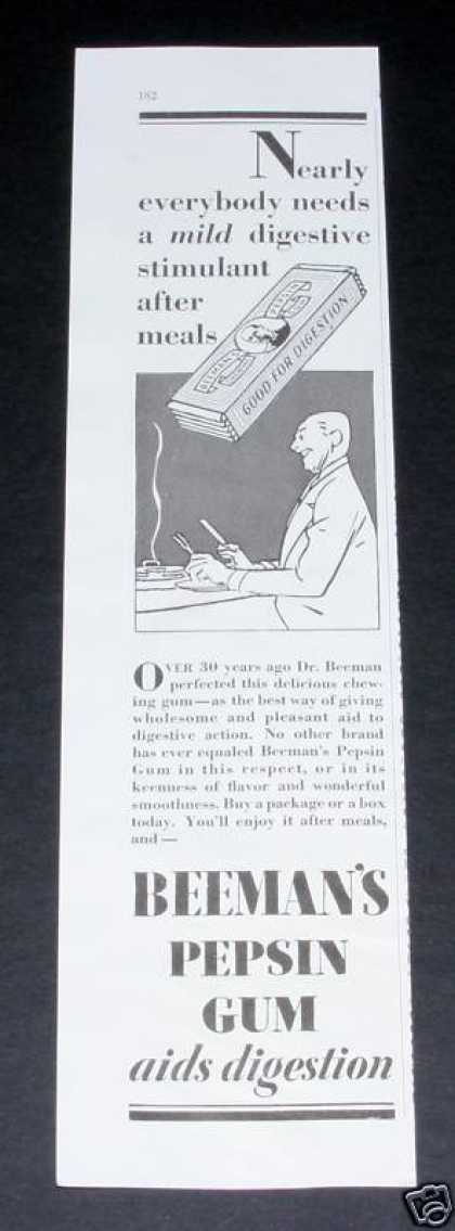 Beeman&#8217;s Pepsin Gum, Digestion (1929)