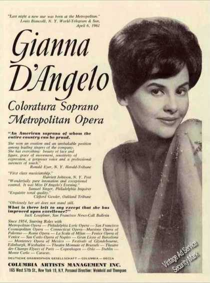 Gianna D'angelo Coloratura Soprano Opera Trade (1962)