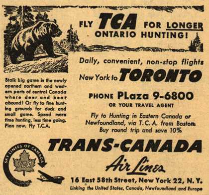 Trans-Canada Air Line&#8217;s Toronto &#8211; Fly TCA For Longer Ontario Hunting (1947)