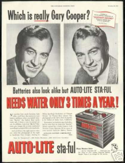 Gary Cooper Photo Auto Lite Vintage Battery (1951)