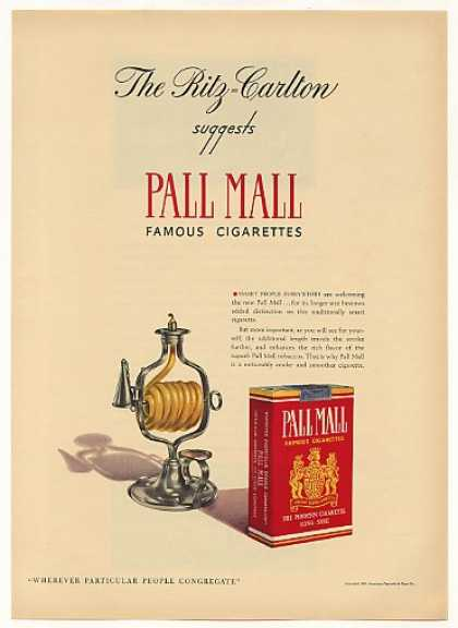 Ritz-Carlton Suggest Pall Mall Cigarette Candle (1940)