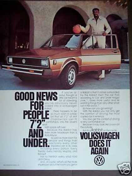 Wilt Chamberlain Photo Vw Volkswagen Rabbit Car (1979)