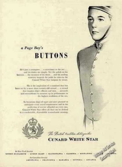 "Cunard White Star ""A Page Boy's Buttons"" Rare (1949)"