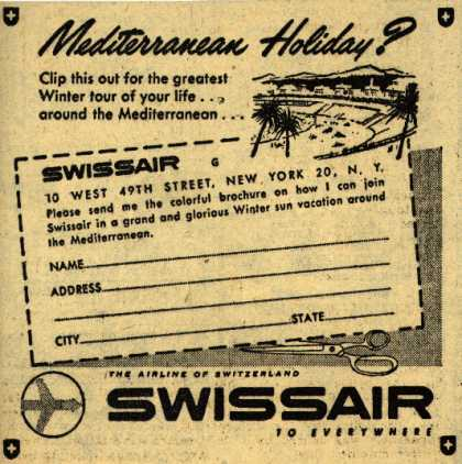 SwissAir's Mediterranean tour – Mediterranean Holiday? (1954)
