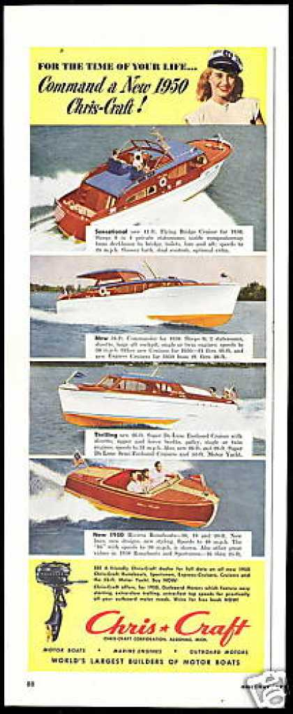 Chris Craft 4 Photo Boat Vintage (1950)