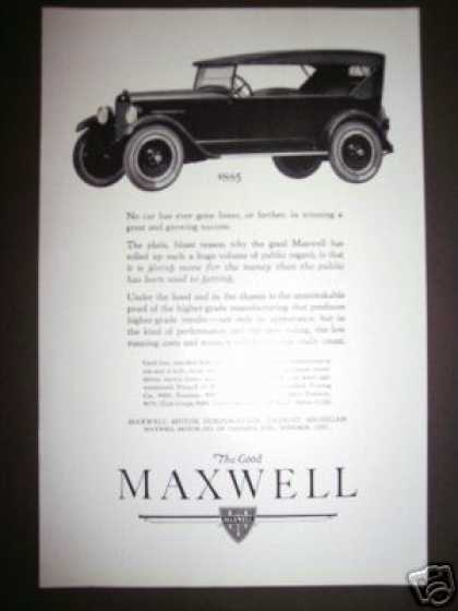 Original the Good Maxwell Motor Car Ad $885. (1923)