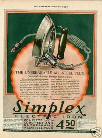 Simplex Electric Iron Color (1925)