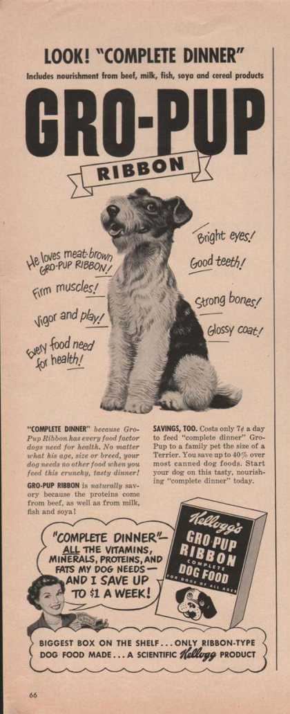 Kelloggs Gro Pup Ribbon Dog Food (1949)
