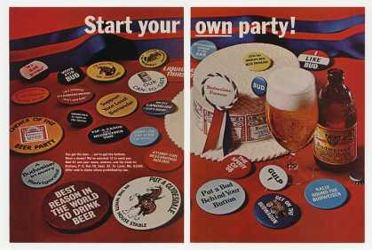 Bud Budweiser Beer Party Buttons Offer (1968)