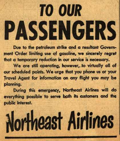 Northeast Airline's Notice to Passengers – TO OUR PASSENGERS (1952)