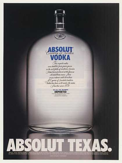 Absolut Texas Big Vodka Bottle (2000)