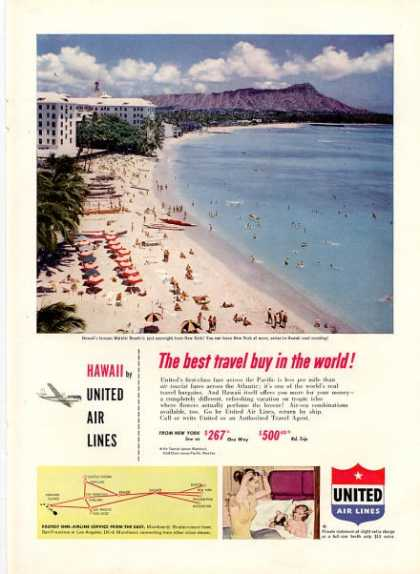 United Airlines Hawaii Waikiki Beach (1952)