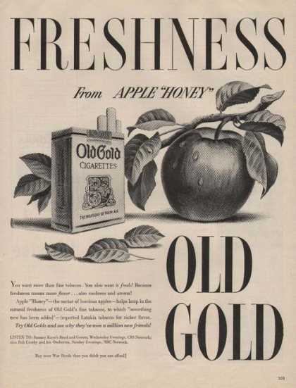 """Apple Honey"" Freshness Old Gold Cigarette (1944)"