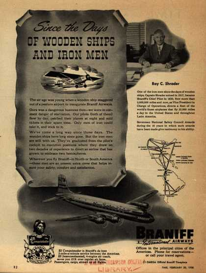 Braniff International Airways – Since the Days OF WOODEN SHIPS AND IRON MEN (1950)