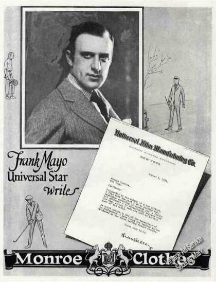 Frank Mayo Photo Antique Monroe Clothes (1921)