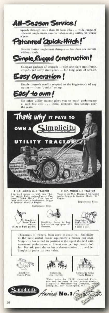 Simplicity Utility Tractor Old Farm Advertising (1951)