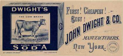 John Dwight & Co.'s Dwight's Soda: The Cow Brand – First! Cheapest! Best