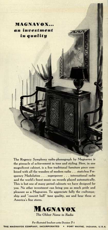 Magnavox Company's Regency Symphony Radio-Phonograph – Magnavox... and Investment in Quality (1941)
