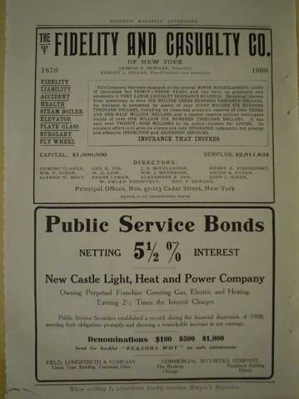 New Castle Light heat and power Public Service bonds AND Fidelity and Casualty co AND Southern Pacific Sunset Route (1909)