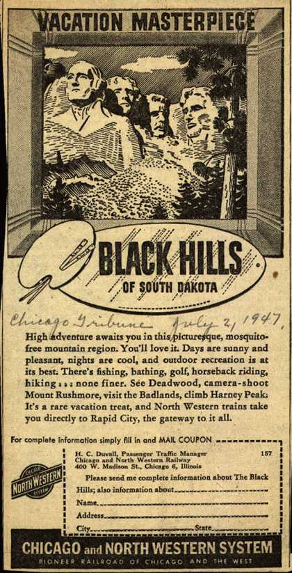 Chicago and North Western System's South Dakota – Vacation Masterpiece Black Hills of South Dakota (1947)