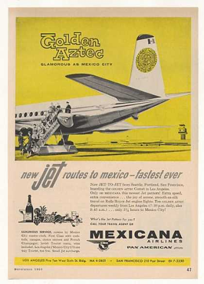 Mexicana Airlines Golden Aztec Jet Route Mexico (1960)