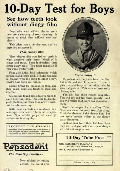 Pepsodent Company's tooth paste – 10-Day Test for Boys (1924)