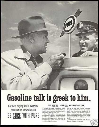 Pure Gasoline Be Sure Station Attendant (1957)