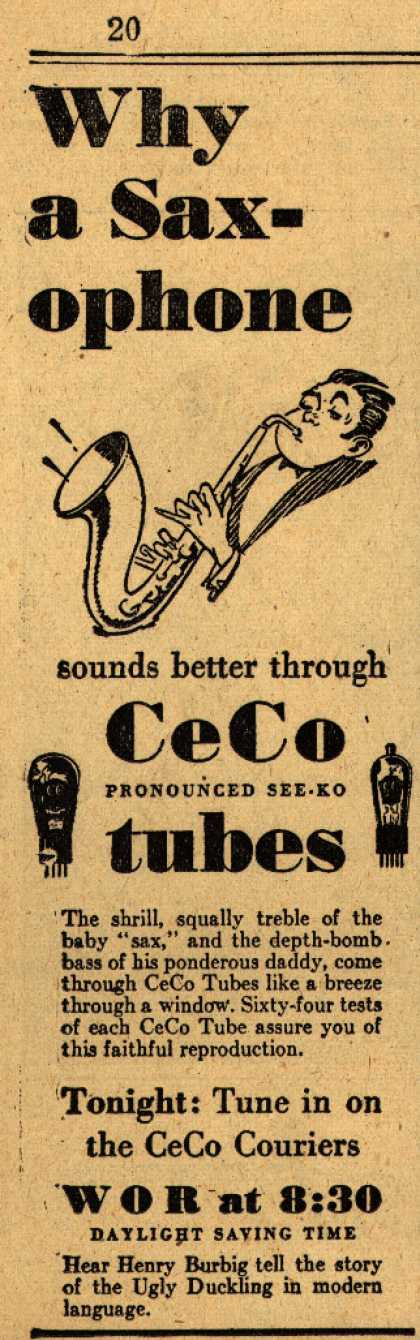 CeCo Manufacturing Company's Radio Tubes – Why a Saxophone (1929)