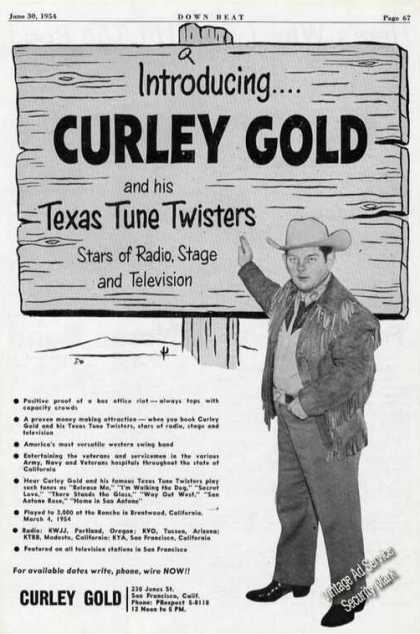 Curley Gold Photo Rare Texas Tune Twisters (1954)