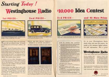 Westinghouse Electric & Manufacturing Company's Various – Starting Today! Westinghouse Radio $10,000 Idea Contest (1930)
