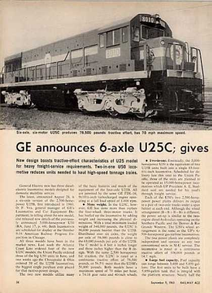 """Ge Announces 6-axle U25c, Gives..."" Article (1963)"