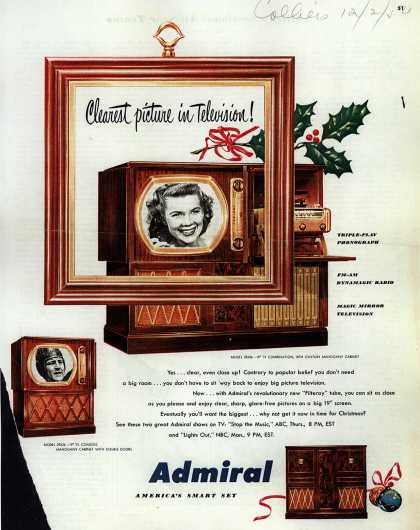 Admiral Television's Television Combinations – Clearest Picture in Television (1952)