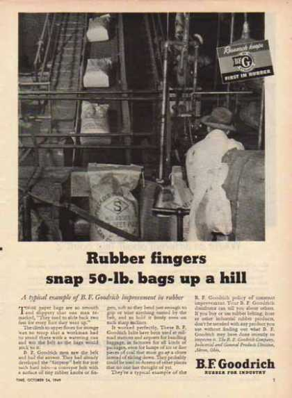 B.F. Goodrich – Rubber fingers snap 50lb. bags up a hill (1949)