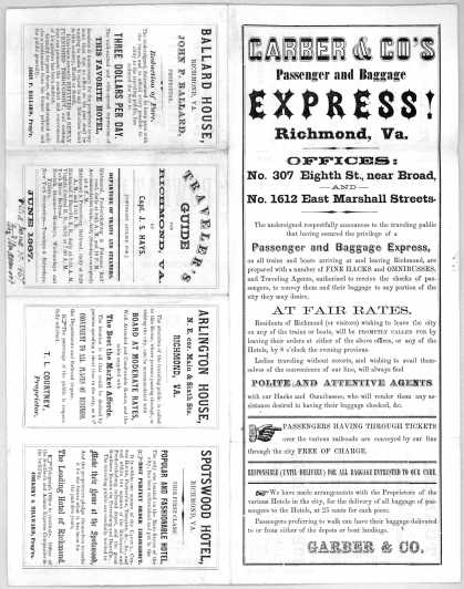 [Printed sheet of advertisements including one for] Garber & Co.'s passenger and baggage express! Richmond, Va. (1867)