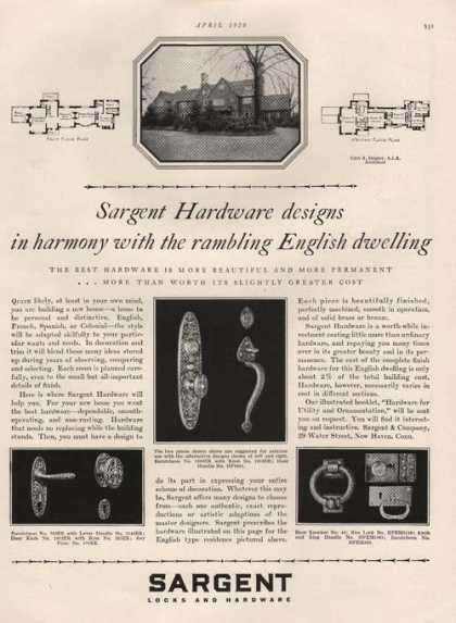 Sargent Locks and Hardware for Homes Print (1929)