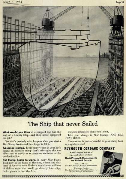 Plymouth Cordage Co.'s War Bonds – The Ship that never Sailed (1943)