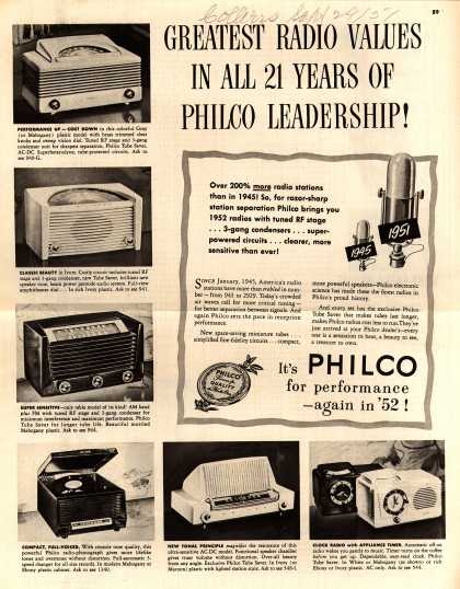 Philco Corporation's Various – Greatest Radio Values In All 21 Years Of Philco Leadership (1951)